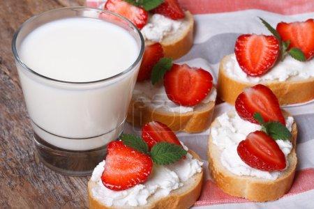 Photo pour Délicieux sandwichs avec fromage à pâte molle et fraises fraîches à la menthe et le lait. horizontal. clôture-u - image libre de droit