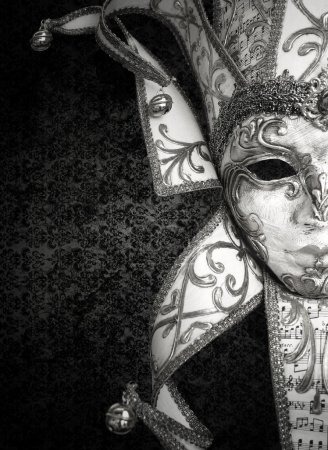 Photo for Detail of a beautiful luxury Venetian mask in black and white - Royalty Free Image