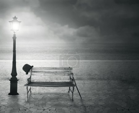 Photo for Beautiful vintage artistic imagine at the sea at night in black and white - Royalty Free Image