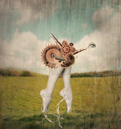 Photo pour Image artistique fantastique qui représente les pieds pointe des pieds et les mollets d'une ballerine classique dans un ballet pantoufles avec un mécanisme surréaliste d'engrenages qui sont censés les déplacer dans un fond surréaliste - image libre de droit