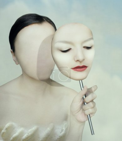 Photo for Surreal portrait of a woman faceless with her face mask - Royalty Free Image