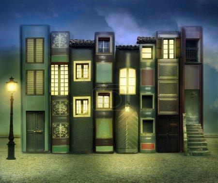 Photo pour De nombreux livres avec fenêtres portes lampes dans un fond extérieur dans la nuit - image libre de droit