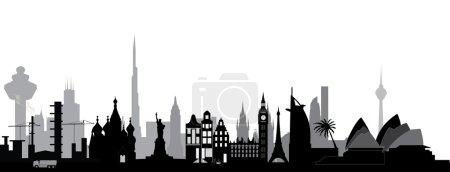 World skyline on white
