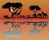 Africa wildlife skyline