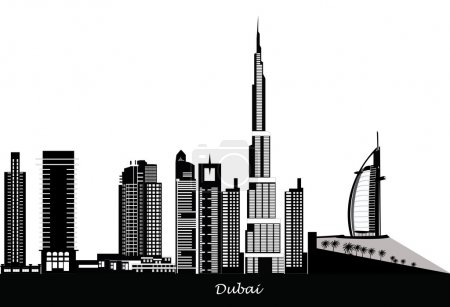 Illustration for Dubai skyline - Royalty Free Image