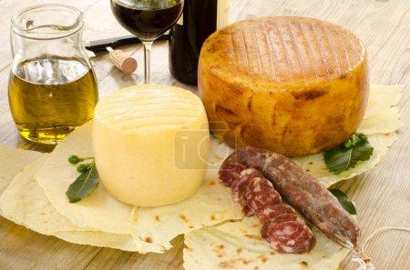 Pecorino sardo and pork sausage