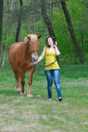young woman taking care of her horse