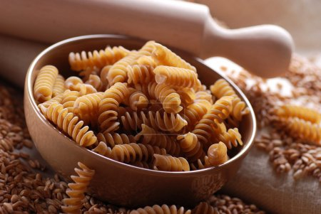 Whole wheat pasta in bowl...