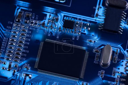 Photo for Macro photo of electronic circuit. symbol of technology. Close up - Royalty Free Image