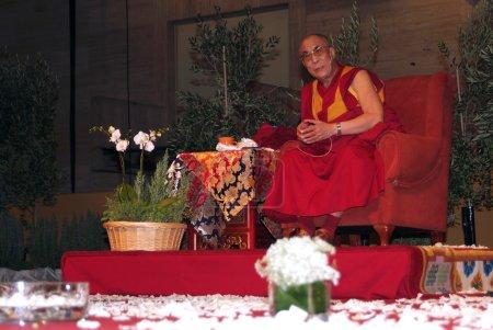 Photo for BARCELONA, SPAIN - SEPTEMBER 10: XIV Dalai Lama Tenzin Gyatso speaks in a conference on September 10, 2007 in Barcelona, Catalonia, Spain - Royalty Free Image