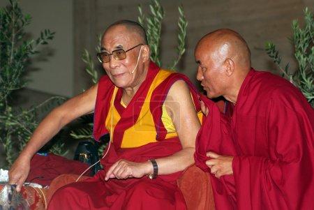 Photo for XIV Dalai Lama Tenzin Gyatso (L) speaks in a conference on September 10, 2007 in Barcelona, Catalonia, Spain - Royalty Free Image