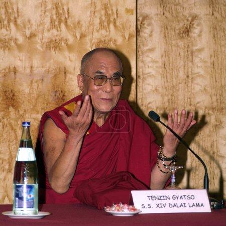 Photo for BARCELONA, SPAIN - SEPTEMBER 9: XIV Dalai Lama Tenzin Gyatso speaks in a conference on September 9, 2007 in Barcelona, Catalonia, Spain. - Royalty Free Image