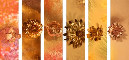 Gilded Flower Buds Banners