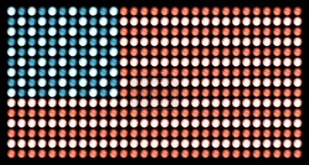 American Flag in Led Lights on Absolute Black