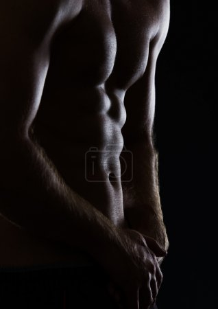 Closeup on sports man showing muscular body on black