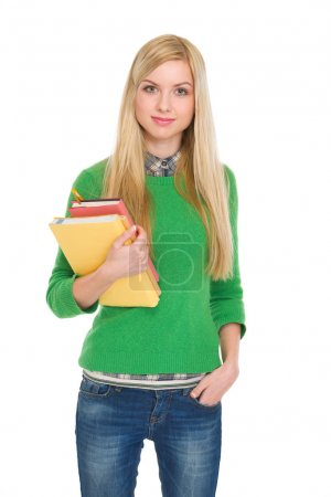 Portrait of student girl with books