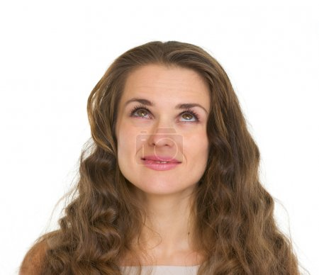 Photo for Portrait of woman with gorgeous hairs looking up - Royalty Free Image