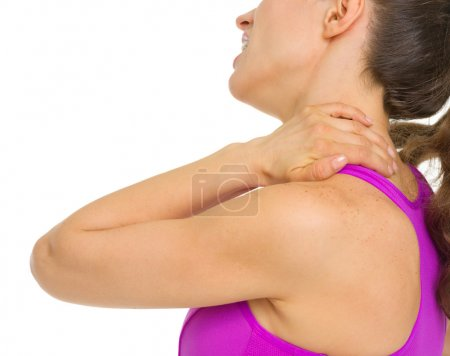 Closeup on woman with neck pain