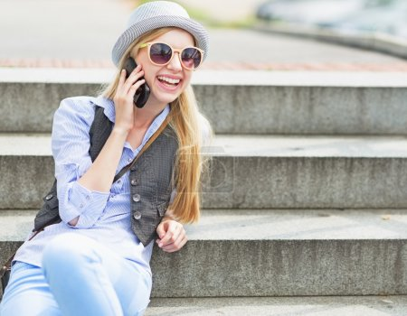 Hipster girl with cell phone