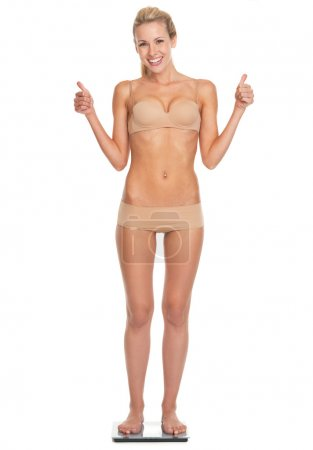 Full length portrait of happy young woman in lingerie standing on scales