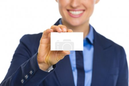 Business woman showing business card