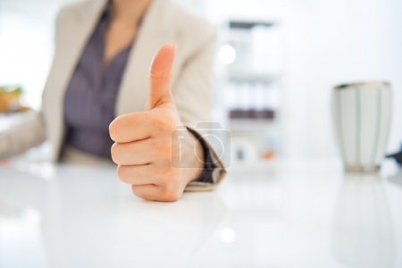 Photo for Closeup on business woman showing thumbs up - Royalty Free Image