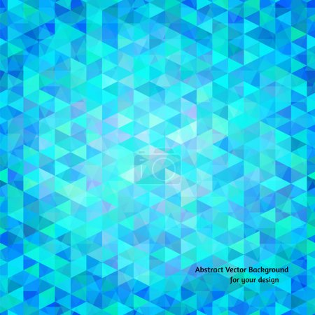 Illustration for Abstract vector background. Blue and aquamarine colorful triangles in random order, polygon style illustration for your design - Royalty Free Image