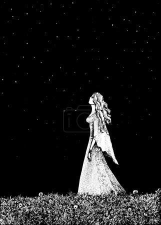 Illustration pour Illustration vectorielle d'une fille et champ de pissenlit . - image libre de droit