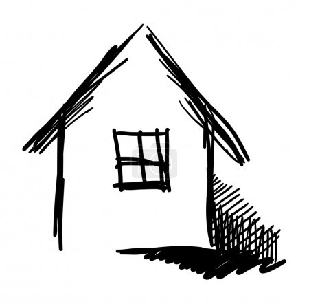 Black and white vector house sketch