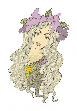 Beautiful hand drawn long-haired girl with flower crown on her h