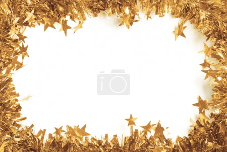 Photo for Christmas Gold Tinsel as a border isolated against a white background - Royalty Free Image