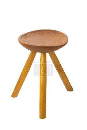 Photo pour Tabouret rond en bois de maka isolé sur fond blanc - image libre de droit