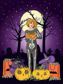 Vector illustration of young woman with pumpkin at Halloween night