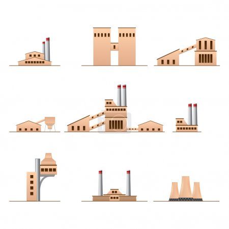 Set of icons of Industrial buildings
