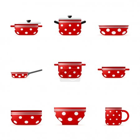 Set of icons of red cookware in white point