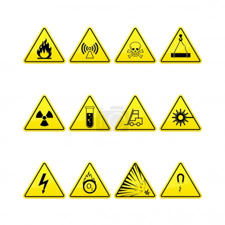Yellow warning and danger icons collection