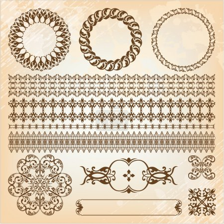 collection of beautiful vintage elements for design