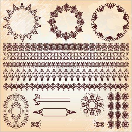 set of vintage floral pattern design elements