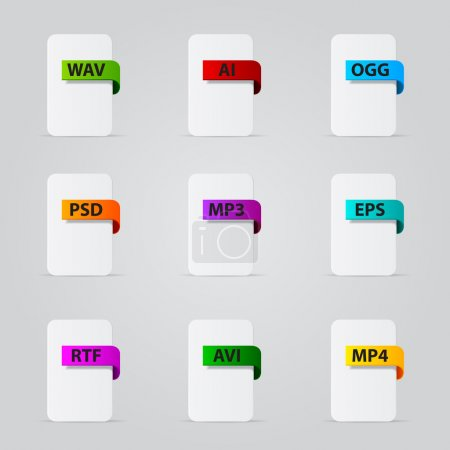 Set of file extension detailed icons...