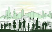 outline green silhouette of the city with crowd of