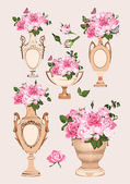 collection of vases roses on pink background
