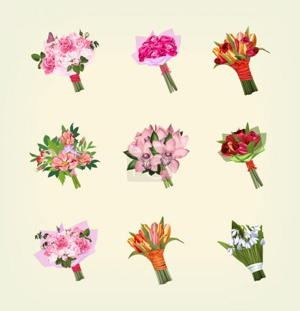 Illustration for Set of many bouquets of flowers - Royalty Free Image