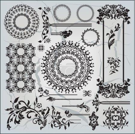 beautiful ornamental pattern on gray background