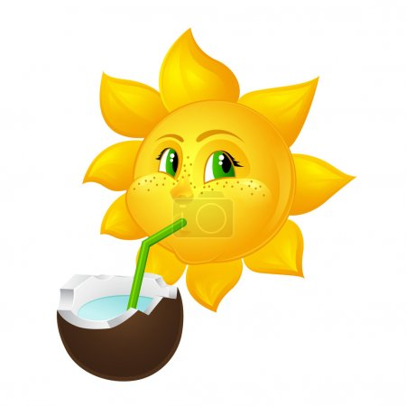 Illustration for Sun with freckles drinks coconut juice - Royalty Free Image