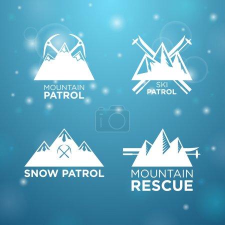Illustration pour Patrouille de ski, de montagne et de neige logotype avec sauvetage en montagne sur fond bleu - image libre de droit