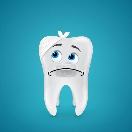 Bandaged sad tooth