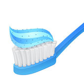 Blue toothbrush and toothpaste on white background