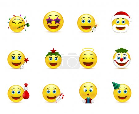 Illustration for Set of smiley images on a party theme - Royalty Free Image