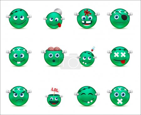 Illustration for Vector smiley images with a zombie theme - Royalty Free Image