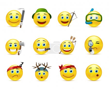 Illustration for Collection of different fun emoticons - Royalty Free Image